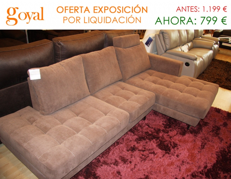 Oferta liquidaci n sof de 3 plazas con chaiselonge fijo for Liquidacion sofas