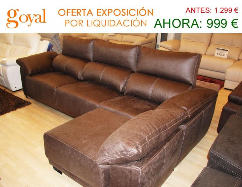 Liquidaci n sof de 3 plazas con chaiselonge partida for Liquidacion sofas piel