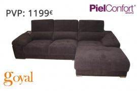 Sofá 3 Plazas + Chaiselonge + Iphone modelo EVELY Piel Confort