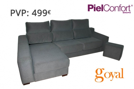 Sofa de 3 plazas con chaiselongue modelo samba piel confort for Sillones piel confort