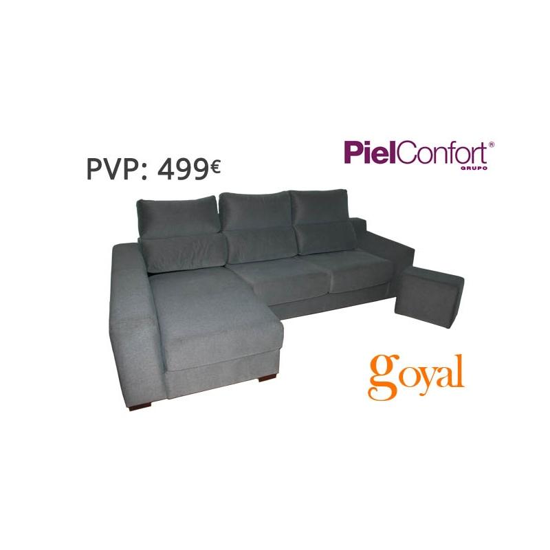 Sofa de 3 plazas con chaiselongue modelo samba piel confort for Sofas piel confort precios