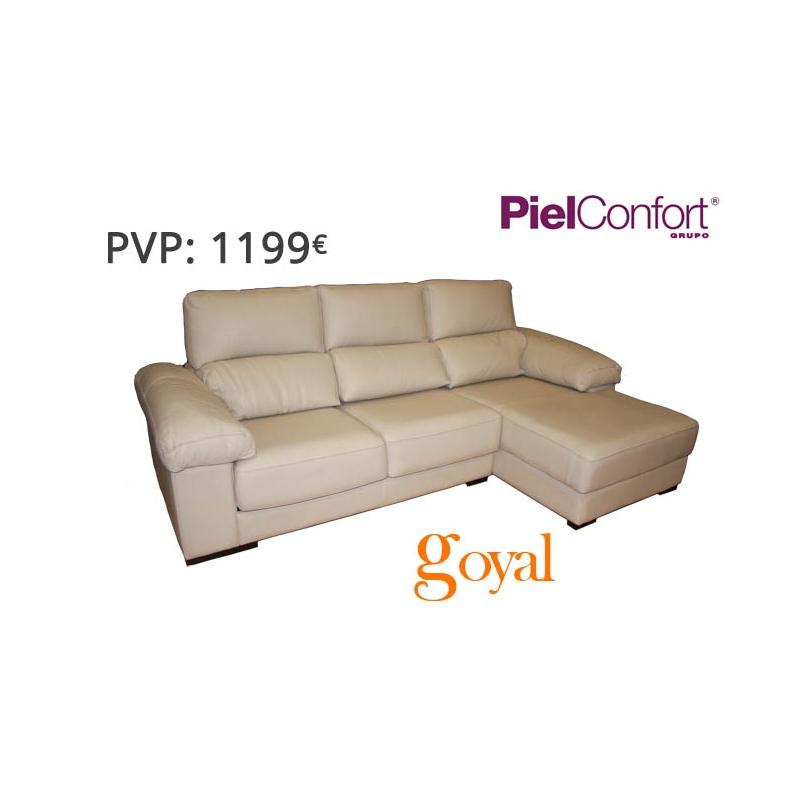 Sofa de 3 plazas con chaiselongue modelo 893 piel confort for Sillones piel confort