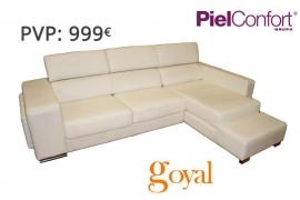 Sofá 3 Plazas + Chaiselonge modelo DALLAS Piel Confort