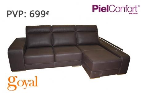 Sofa de 3 plazas con chaiselongue modelo evento piel confort for Sillones piel confort
