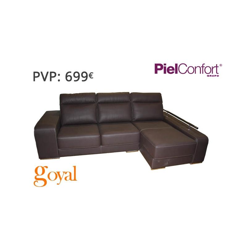 Sofa de 3 plazas con chaiselongue modelo evento piel confort for Sofas piel confort precios