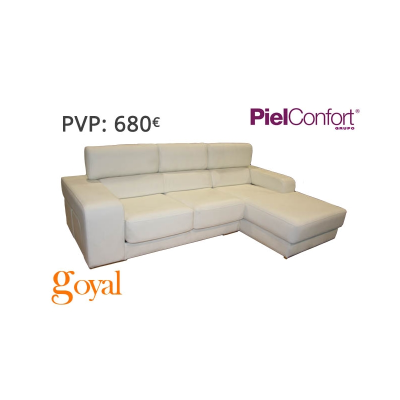 Sofa de 3 plazas con chaiselongue modelo futura piel confort for Sillones piel confort