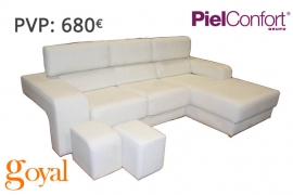 Sofá 3 Plazas + Chaiselonge + Puff modelo FUTURA Piel Confort