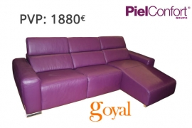 Sofá 3 Plazas + Chaiselonge con Relax modelo NAPOLI Piel Confort