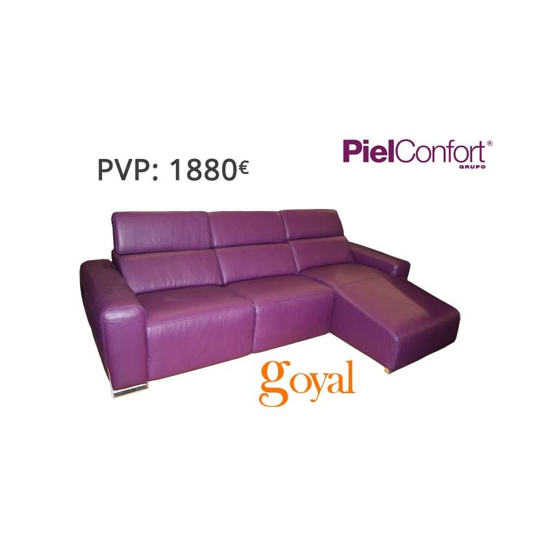 Sofa de 3 plazas con chaiselongue modelo napoli piel confort for Sillones piel confort