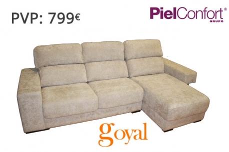Sofa de 3 plazas con chaiselongue modelo harry piel confort for Sillones piel confort