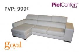 Sofá 3 Plazas + Chaiselonge modelo YUTAH Piel Confort
