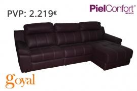 Sofá 3 Plazas  + Chaiselong modelo SARAY Piel Confort