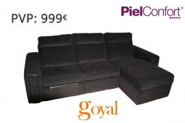 Sofá 3 Plazas con Chaiselong + Relax modelo 872 Piel Confort