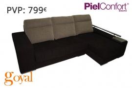Sofá 3 Plazas + Chaiselonge modelo TEM Piel Confort