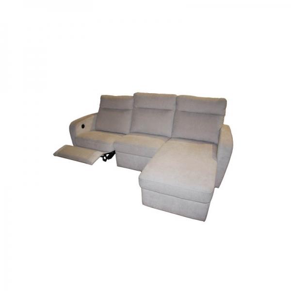 Sofa De 3 Plazas Con Chaiselongue Modelo Trueno Piel Confort
