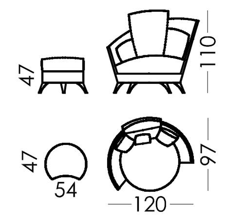 Croquis sillón Roxane